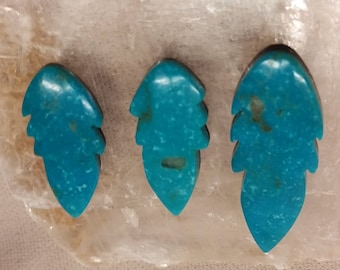 Blue Turquoise Feather Cabochon Set of 3/ backed/ Sonora Mexico