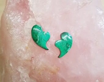 Small Green Variscite Crying Heart Cabochon Pair/ backed