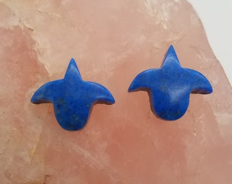 Blue Lapis Tulip Small Cabochon pair / Backed / With Jewelry Options