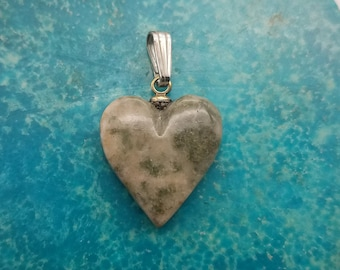 Pink Green Nevada Lapis Heart Pendant with Eyehook and Sterling Silver Bail