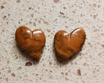Brown and Red Onyx Heart Cabochon Pair/ backed/