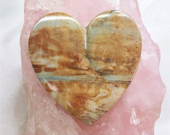Extra Large Cream & Brown Picasso Marble Heart Cabochon/ backed