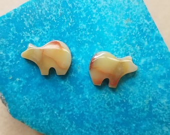 Golden and Red Onyx Bear Cabochon Pair/ backed