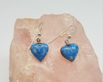 Light Blue Denim Lapis Lazuli Small Heart Earrings with Sterling Silver French Earwires