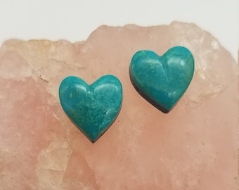 Blue Green Sonora Turquoise Small Heart Cabochon Pair/ backed