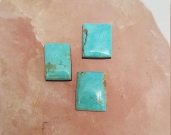 Light Blue Kingman Turquoise Rectangle Cabochons/ Set of 3/ backed