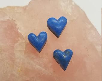 Dark Blue Lapis Lazuli Small Heart Trio/ Set of 3/ backed