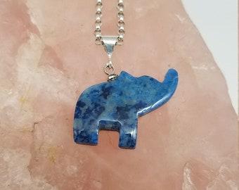 Dark Blue Lapis Lazuli & Sterling Silver Elephant Pendant