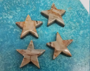 Gray Brown and Tan Banded Picasso Marble Star Cabochon/ Set of 4