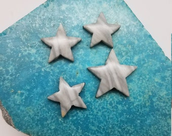 Gray and White Banded Marble Small Star Cabochons/ backed