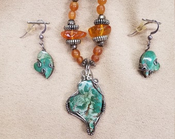 Pilot Mountain Turquoise Heart Necklace & Earrings Set with Turquoise and Amber Accents with Black Satin Cord