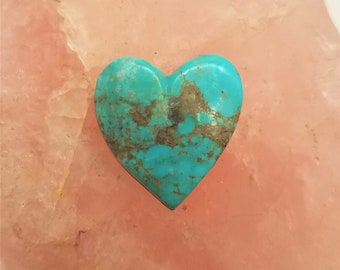 Blue Turquoise Mountain Medium Heart Cabochon/ backed /22mm
