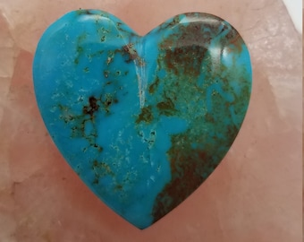 Blue Green Pilot Mountain Turquoise Large Heart Cabochon/ backed/
