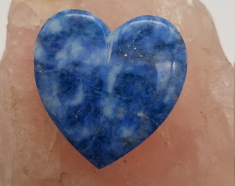 Light and Dark Blue Dappled Lapis Lazuli Large Heart Cabochon with Pyrite Flakes/ backed