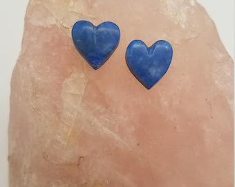 Dark Blue Lapis Lazuli Small Heart Cabochon Pair/ backed
