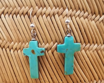 Green Pilot Mountain Turquoise Cabochon Cross Earrings with Sterling Silver French Earwire / Backed
