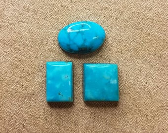 Blue Turquoise Mountain Cabochon Set of 3 / backed oval & 2 rectangles