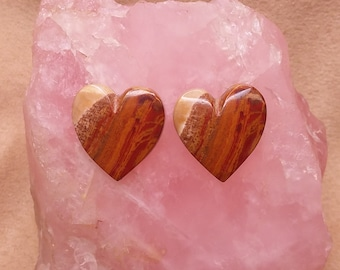 Medium Red Brown & Cream Banded Onyx Heart Cabochon Pair/ backed