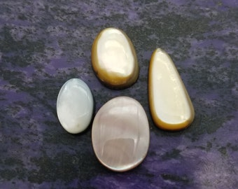 Pink, White, and Gold Mussel Shell Cabochons / Backed