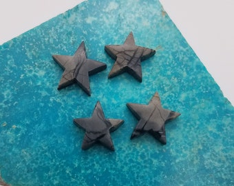 Dark Gray Picasso Marble Star Cabochons / set of 4/ Backed