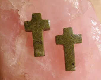 40% OFF Olive Green Epidote Cross Crucifix Cabochon Pair/ backed
