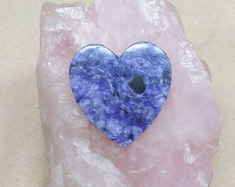 35% OFF Large Purple Charite Heart Cabochon/ backed/ seconds