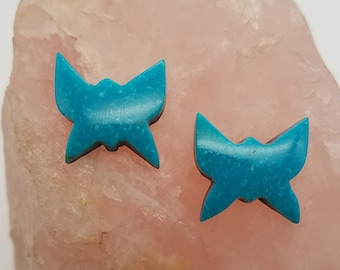Blue Sonora Turquoise Small Butterfly Cabochon Pair / Backed