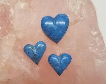 Light Blue Denim Lapis Lazuli Heart Small and Medium Small Cabochons Set of 3/ backed
