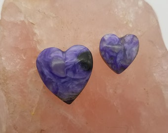 Purple Charoite Medium & Small Heart Cabochon Set/ backed