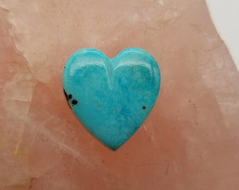 Light Blue Kingman Turquoise Medium Heart Cabochon/ backed