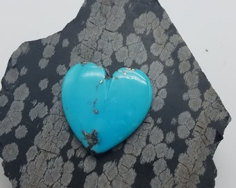 Large Blue Morenci Turquoise Heart Cabochon with metallic Pyrite Matrix/ backed
