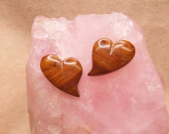 Brown & Red Banded Onyx Heart Cabochon Pair/ backed