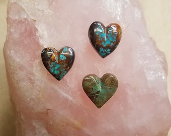 Green & Brown Pilot Mountain Turquoise Small Heart Cabochons/ backed