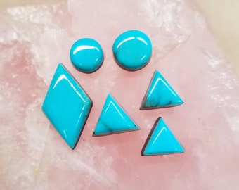 Blue Gem Turquoise Circles, Triangles,  Diamond  Cabochons / Set of 6 / Backed