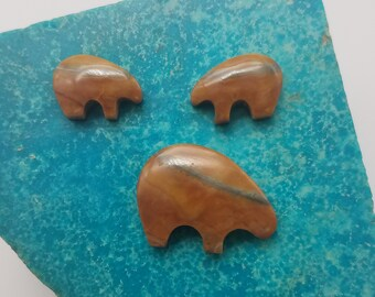 Brown Banded Picasso Marble Bear Cabochons/ Set of 3/ backed