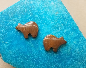 Brown Onyx Bear Cabochon Pair/ backed