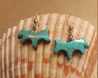 Blue Green Turquoise Horse Earrings with Sterling Silver French Earwires/ Pilot Mountain Turquoise/ backed