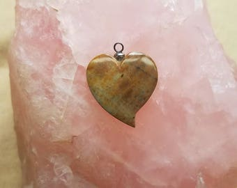 Medium Brown &Tan Picasso Marble Tear Heart Cabochon with Sterling eyehook/ backed