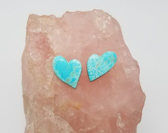 Blue Kingman Turquoise Tear Heart Medium Small Cabochons / Backed
