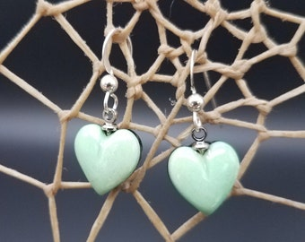 Mint-Green Variscite Cabochon Heart Earrings with Sterling Silver French Earwire / Backed