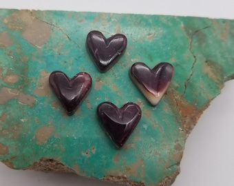 Purple Spiny Oyster Shell Small Heart Cabochons/ Set of 4/ backed