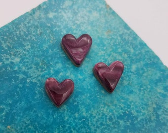 Purple Spiny Oyster Shell Small Heart Cabochon Trio/ backed