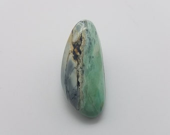 Light Green Carico Lake Turquoise Freeform Oval Cabochon / Backed