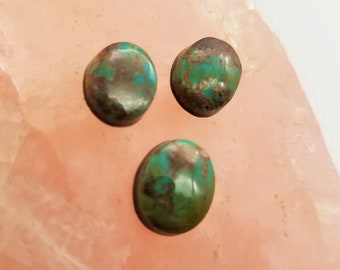 Dark Green Pilot Mountain Turquoise Small Oval Cabochons/Set of 3/ backed