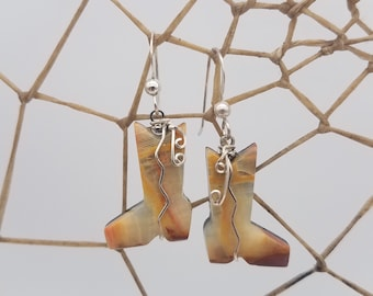 Onyx Cowboy Boot Earrings with Sterling Silver French Earwire / Backed