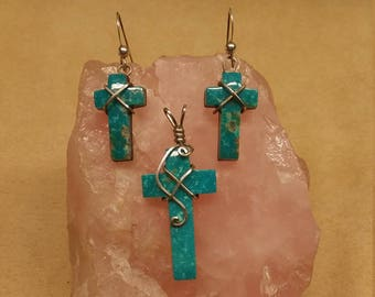 Reserved for Donna L---Blue Sonora Turquoise Cross Pendant & Earrings Set with sterling silver