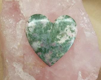 Green & Pink Nevada Lapis Heart Cabochon/ backed
