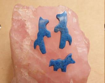 50% OFF Light Blue Lapis Lazuli Horse Cabochon Trio/ backed/ seconds