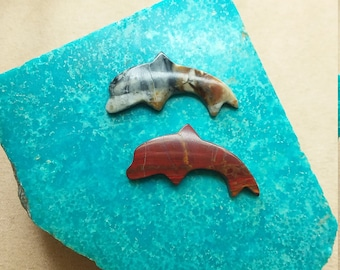 40 OFF% Red Onyx & Picasso Marble Dolphin Cabochons/ backed/ seconds