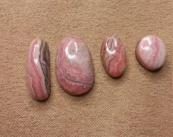 Pink Rhodocrosite Freeform Oval Cabochons/ backed set of 4